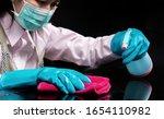 woman wear a hygienic mask  ... | Shutterstock . vector #1654110982