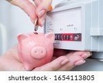 Woman Puts Coin In Piggy Bank...