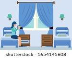 cartoon woman read book in... | Shutterstock .eps vector #1654145608