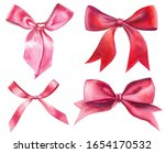 watercolor red and pink silk...   Shutterstock . vector #1654170532