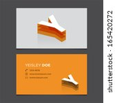 business card template with... | Shutterstock .eps vector #165420272