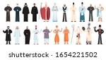 Set of religion people wearing specific uniform. Male religious figure collection. Buddhist monk, christian priests, rabbi judaist, muslim mullah. Flat vector illustration