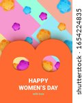 women's day greeting card or... | Shutterstock .eps vector #1654224835