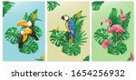 exotic birds and tropical... | Shutterstock .eps vector #1654256932