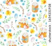easter seamless pattern.spring...   Shutterstock . vector #1654331938