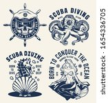 vintage scuba diving and... | Shutterstock .eps vector #1654336705