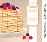 stack of pancakes with maple... | Shutterstock .eps vector #165440426