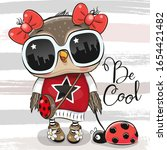 cool cartoon cute owl with sun... | Shutterstock .eps vector #1654421482