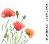 Red Poppies Flowers Watercolor...