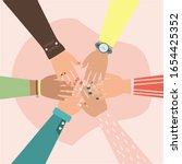 unity  hands of diverse group... | Shutterstock .eps vector #1654425352