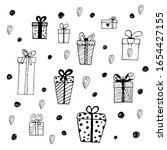 set with gift boxes and dots...   Shutterstock .eps vector #1654427155