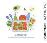 alkaline diet emblem. meal... | Shutterstock .eps vector #1654488142