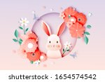 cute rabbit and floral paper... | Shutterstock .eps vector #1654574542