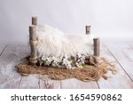 White Wooden Log Bed For...