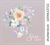 set of card with flower rose ...   Shutterstock . vector #1654613722