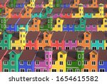 Many Colored Low Rise Houses...