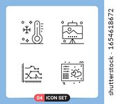 4 line black icon pack outline... | Shutterstock .eps vector #1654618672