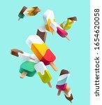 stylized multicolored ice cream.... | Shutterstock .eps vector #1654620058