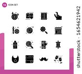 glyph icon set. pack of 16... | Shutterstock .eps vector #1654621942
