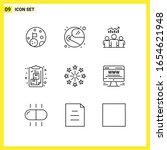 9 icon set. simple line symbols.... | Shutterstock .eps vector #1654621948