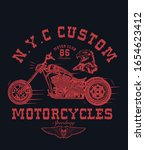 t shirt print with motorcycle... | Shutterstock .eps vector #1654623412