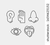 sense organs flat vector icons. ... | Shutterstock .eps vector #1654625152