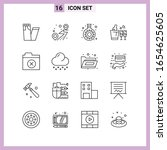 16 icons in line style. outline ... | Shutterstock .eps vector #1654625605