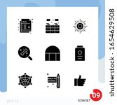 modern pack of 9 icons. solid... | Shutterstock .eps vector #1654629508