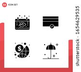 pack of 4 universal glyph icons ... | Shutterstock .eps vector #1654629535