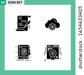 pack of 4 solid style icon set. ... | Shutterstock .eps vector #1654633405