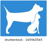 Stock photo blue pet icon with dog and cat silhouette 165463565