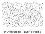 doodle dot line arrows. vector... | Shutterstock .eps vector #1654644868