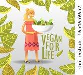 cartoon joyful vegan woman...   Shutterstock .eps vector #1654659652
