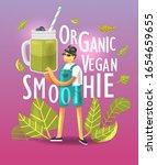 cartoon young happy vegan man...   Shutterstock .eps vector #1654659655