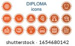 editable 14 diploma icons for... | Shutterstock .eps vector #1654680142