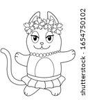 cute dancing cat in a wreath...   Shutterstock .eps vector #1654750102