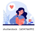 teenage girl writing diary or... | Shutterstock .eps vector #1654766992