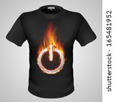 black male t shirt with fiery...