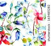 seamless wallpaper with summer... | Shutterstock . vector #165485282
