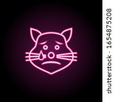 crying cat neon icon. simple...
