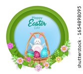 happy easter with decorated... | Shutterstock .eps vector #1654898095