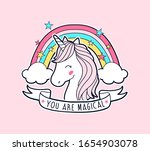 sweet unicorn and rainbow... | Shutterstock .eps vector #1654903078