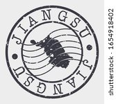 Jiangsu China Stamp Postal. A Map Silhouette Seal. Passport Round Design. Vector Icon Design Retro Travel.