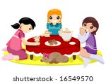 girls having tea party   vector | Shutterstock .eps vector #16549570