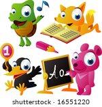 vector animal set 61  school ... | Shutterstock .eps vector #16551220