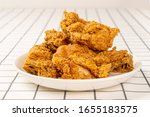 Close Up Fried Chickens On...