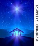 christian christmas night with... | Shutterstock .eps vector #165520406