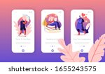 people reading mobile app page... | Shutterstock .eps vector #1655243575