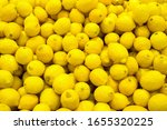Many Of Fresh Lemons Closeup...