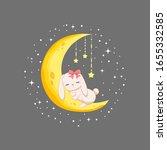 rabbit sleep on the moon on... | Shutterstock .eps vector #1655332585